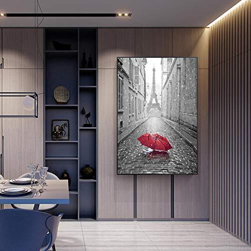 Poster und Drucke Turm Moderne Wand Romantische Street View Leinwand Kunst Gemälde Regenschirm Landschaft Bild Home Decoration 30x40cm / 11.8