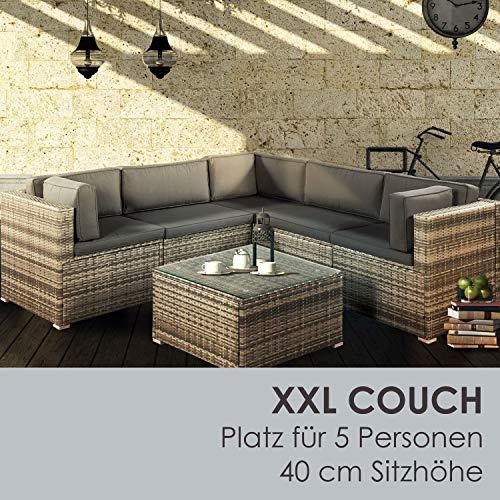 ArtLife Polyrattan Lounge Sitzgruppe Nassau beige-grau mit Bezügen in Dunkelgrau - 5
