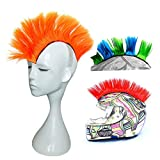 3T-SISTER Helmet Mohawk Wig Motorcycle Adhesive Mohawk Hair Patches Skinhead Costumes Wig Orange Color (Helmet not Included)