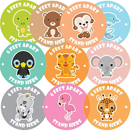 Kid's Social Distance Floor Stickers 10-Pack | 11 Inch Animal Cartoon Adhesive Vinyl Stickers | Children Distancing Floor Decals | Laminated Anti-Slip Commercial Grade Floor Sign | Applicator Included