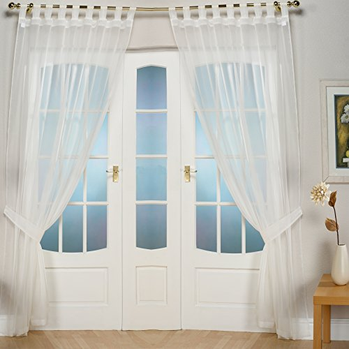 Pair Of John Aird Woven Voile Tab Top Curtain Panels. Free Tiebacks Included. Finished in Cream (58' Wide x 81' Drop)