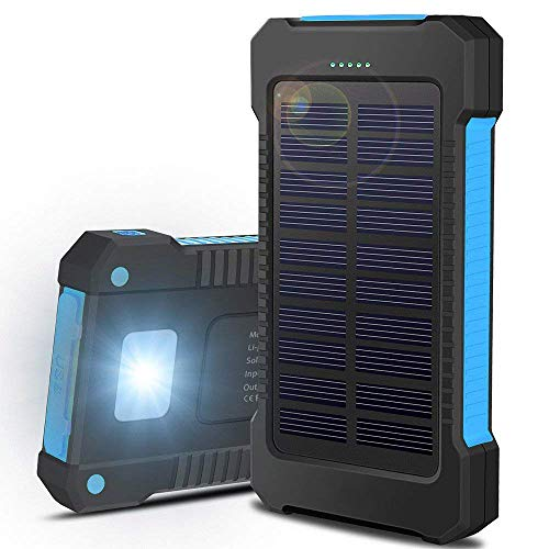 Solar Charger, Oukafen 20000mAh Portable Outdoor Waterproof Mobile Power Bank, Backpack Camping External Backup Battery Pack USB Charger with Dual USB/LED Flashlights for Android Cell Phone (Blue)