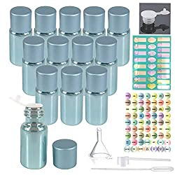 40%OFF 12pcs 5ml Empty Pearled Blue Glass Oil Bottles Set For Essential Oil Blends Samples