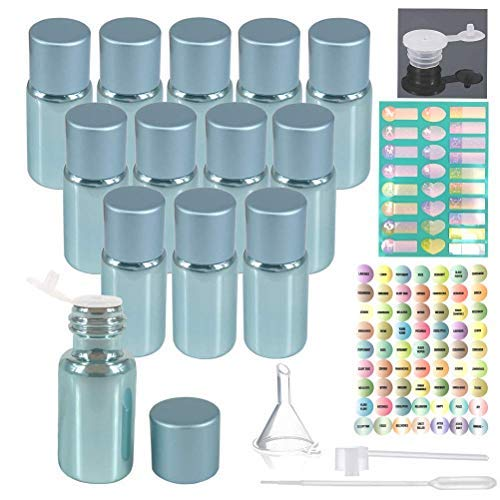 12pcs 5ml Empty Pearled Blue Glass Oil Bottles Set For Essential Oil Blends Samples With 1x26 Stickers,1x63labels,1 Funnel,1 Dropper,1 Sprayer Adapter,1 Extra Orifice Reducer