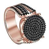 WFZ17 Anillo de dedo de imitación chapado en aleación de joyería para mujer, oro rosa US 6