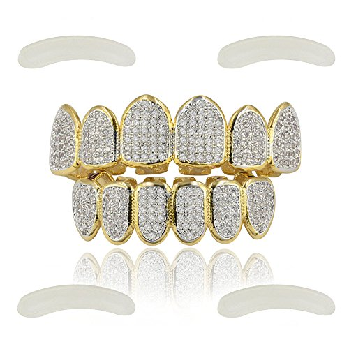 JINAO 18k Gold Plated All Iced Out Luxury Cubic Zirconia Gold Grillz Set with Extra Molding Bars Included (Classic Set)
