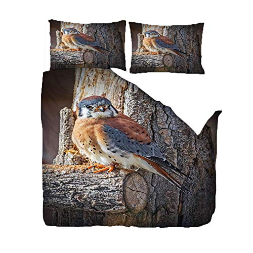 3-Piece Bedding Sets 260x220 CmAnimal Blue Tit 3D Print Quilt Cover Duvet Cover Super Soft FashionTeenagers Comforter Cover, with 2 Pillowcase