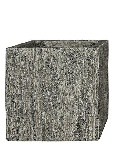 Pflanzwerk® Maceta Fibra de Vidrio Cube Wood Gris 23x23x23cm XXL *Resistente a Las heladas*...