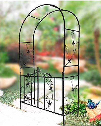 HLMBQ Arbor de jardín de metal con puerta al aire libre de arco, enrejado para boda, arco, para escalar, plantas, césped, terrazas de hiedra, negro, 214 x 110 x 37 cm