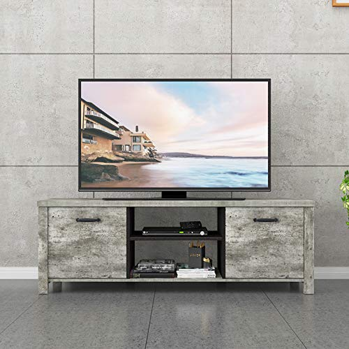 soges TV-Bänke Lowboards TV Fernsehenschrank TV-Ständer aus Holz mit Zwei Schubladen,Media Storage Console Entertainment Center,150 * 40 * 50CM,Hellgrau