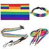 TRIXES 4-teiliges Regenbogen Gay Pride Day Accessories Set für Erwachsene Mehrfarbig Flagge Cape Lanyard Schnürsenkel & Armbänder für Festivals Karneval & LGBTQ Events