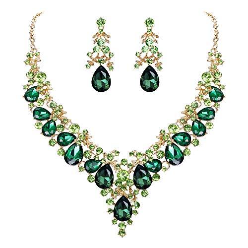 EVER FAITH Juegos de Joyas para Mujer Cristal Austríaco Boda Banquete Floral Hoja Lágrima Collares Pendientes Conjunto Verde Tono Dorado