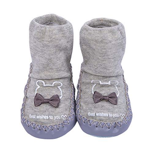 Juzzae Süße Unisex Baby Socken Schuhe Baby Mädchen Baby Jungen rutschfeste Hausschuhe Socken Lauflernschuhe Prewalker Baumwolle Boden Socken Baby Mokassins mit Grip für Kleinkinder 6-12 Monate