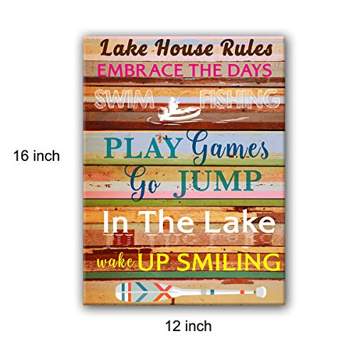 yuzi-n Vintage Wooden Style Colorful Lake House Rules Linen Canvas Wall Art Decoration, Lake House Decor, Gift for Lake Cabin Decoration