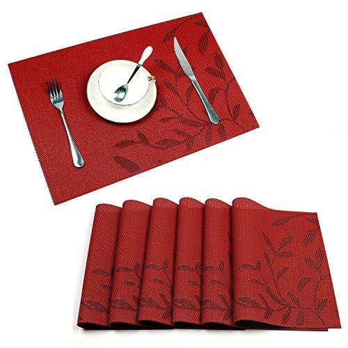 U'Artlines 6er Set Platzsets Hitzebeständigen Waschbaren Vinyl Geflochten Tischsets 30x45cm Anti-Rutsch für Esstisch,Rot