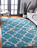 Unique Loom Trellis Collection Vintage Geometric Transitional Indoor and Outdoor Flatweave Area Rug, 5 x 8 Feet, Turquoise/Beige