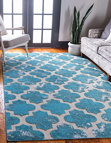 Unique Loom Trellis Collection Vintage Geometric Transitional Indoor and Outdoor Flatweave Area Rug, 8 x 10 Feet, Turquoise/Beige