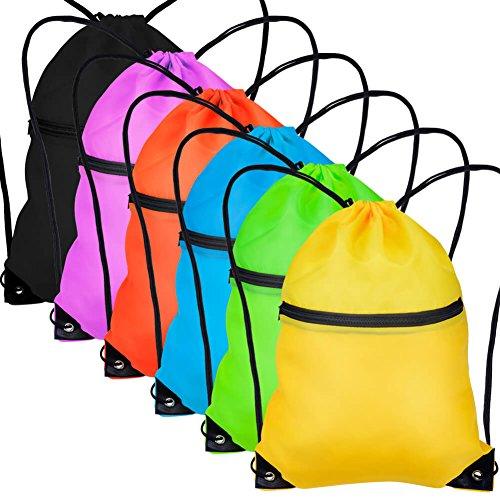 Paxcoo 6 Pack Drawstring Backpack with Pocket Cinch Sack String Tote Nap Bag Bulk for Gym