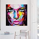 ZWBBO Peinture Sur Toile Peinture décorative Couteau Peinture Visage Coloré Visures Sur Toile pourSalon Décor À La Maison Peinture Chiffres Photos-70x100cm