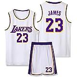 Jersey de Baloncesto Lebron James # 23 de Los Angeles Lakers, Chaleco sin Mangas para Deportes al Aire Libre con Estilo para Hombres Equipo de competición cómodo y Transpirable, Dos Capas de Letras