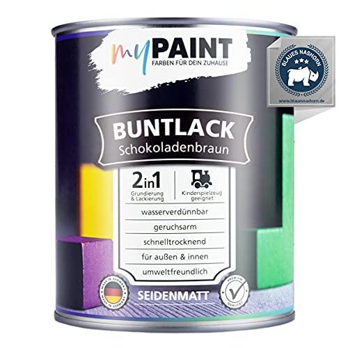 myPAINT 2in1 Buntlack (750ml, RAL 8017 Schokoladenbraun) seidenmatter Acryllack - Lack für Kinderspielzeug - Farbe für Holz - Holzfarbe Innen - Made in Germany