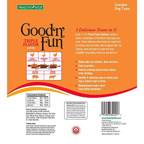 Good'N'Fun Triple Flavored Rawhide Kabobs For Dogs, 12 Oz