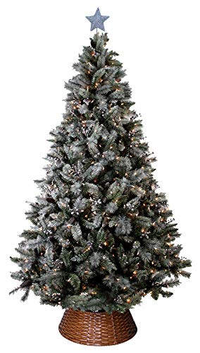 ABUSA Prelit Frosted Artificial Christmas Tree 7.5 ft...