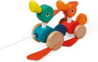 Janod Zigolos Pull Along Duck Family Early Learning and Motor Skills Toy with Flapping Feet Made of FSC Certified Beech and Cherry Wood for Ages 12 Months+