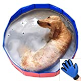 Foldable Dog Pet Bath Pool Pet swimming Tub Collapsible Dog Pet Tub for Dogs,Cats or kids (32inch.D x 8inch.H,blue-red)