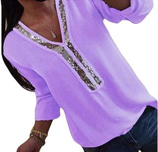S-Fly Womens Fashion Tunic V Neck Top Sequins Long Sleeve Chiffon Blouse Shirt Tops