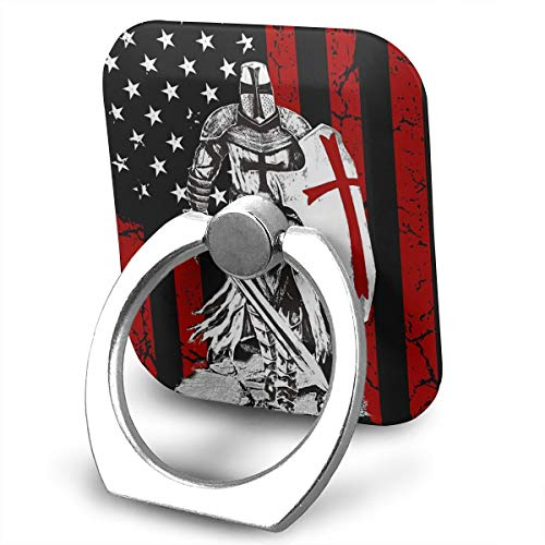 BLDBZQ Cell Phone Ring Holder Knight Templar Crusader Warrior American Flag Finger Grip Stand Holder 360 Degrees Rotation Compatible with iPhone Samsung Phone Case