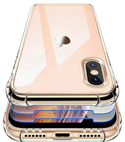 Garegce Coque pour iPhone XS Max, 2 Pack Verre trempé Protecteur, Coque XS Max Transparente TPU Silicone Souple, Antichoc Bumper Protection Cover pour iPhone XS Max - 6.5 Pouces - Transparente