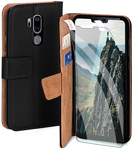 moex Handyhülle für LG G7 ThinQ / G7 Fit - Hülle mit Kartenfach, Geldfach & Ständer, Klapphülle, PU Leder Book Hülle & Schutzfolie - Schwarz