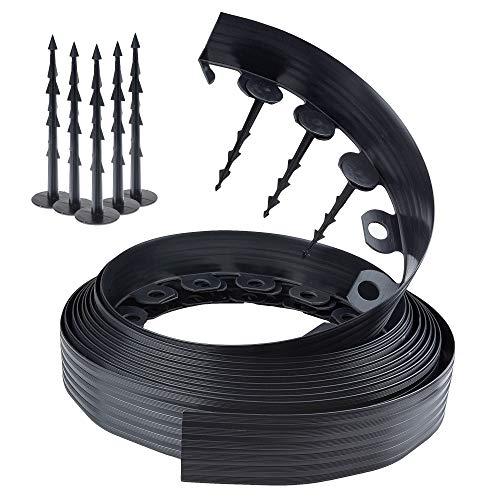 Chrispol System Bordura per aiuole Nero Lunghezza 10 Metri, Altezza 6 Centimetri | Bordi per aiuole Flessibile | bordura per Giardino plastica + 60 Chiodi di Fissaggio