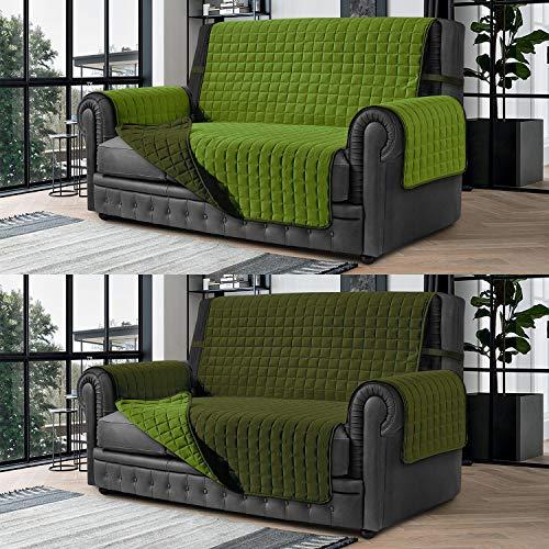 Banzaii Cubre Sofá – Funda Sofá Acolchada Reversible – 3 Plazas Verde Militar y Verde para Asiento de 170 a 195 cm