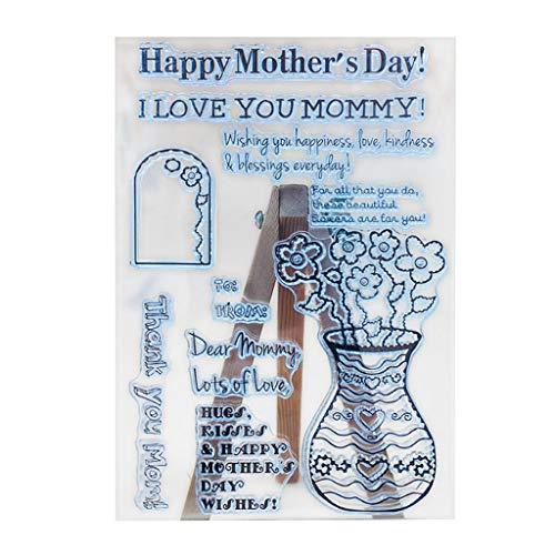 W-WENBING Feliz Día de la Madre Sello de Silicona Transparente Sello DIY Scrapbooking Embossing Craft Photo