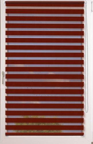 Doppelrollo Uni als Maßanfertigung ~ OHNE Bohren ~ Farbe: Bordeauxrot ~ Stoffbreite: 81 bis 90cm x Höhe bis 150 cm