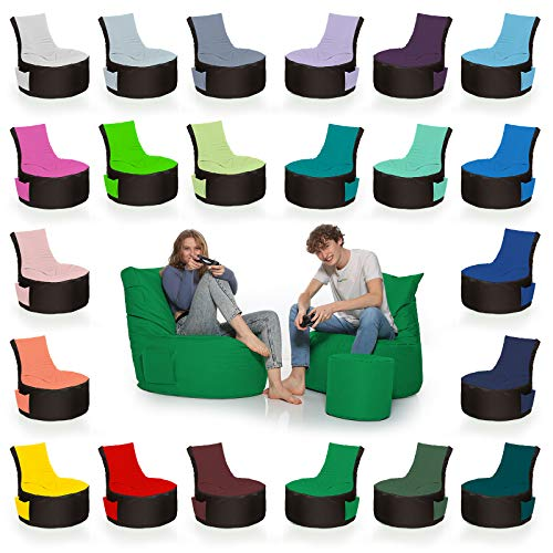 HomeIdeal - 2Farbiger Gamer Sitzsack Lounge für Erwachsene & Kinder - Gaming oder Entspannen - Indoor & Outdoor da er Wasserfest ist - mit EPS Perlen, Farbe:Schwarz-Grün, Größe:Erwachsene