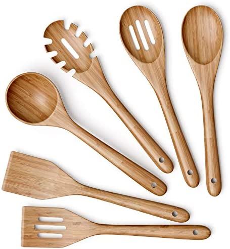 Wooden Kitchen Utensils Set 6 Piece Non Stick Bamboo Wooden Utensils for Cooking Easy to Clean product image