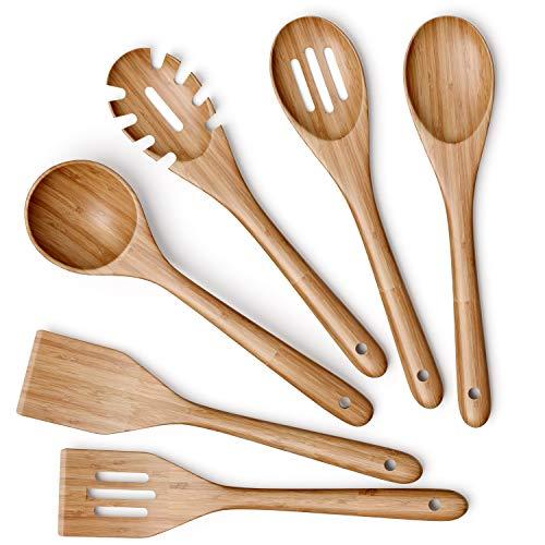 Wooden Kitchen Utensils Set - 6 Piece Non-Stick Bamboo Wooden Utensils