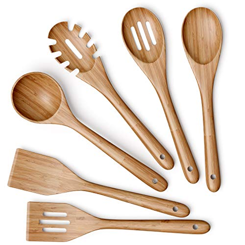 Wooden Kitchen Utensils Set - 6 Piece Non-Stick Bamboo Wooden Utensils for Cooking - Easy to Clean Reusable Wooden Spoons for Cooking, Spatula, Ladle, Turner & Pasta Server