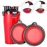 Powerking Borraccia per Cani, Gatto per Animali Domestici e Bottiglia per Cani con Contenitore per Alimenti per Animali Domestici(Rosso)