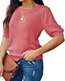 Foshow Womens Spring Puff Short Sleeve Sweaters Crew Neck Pullover Tops Dot Loose Lightweight Knit Blouse Shirt Pink