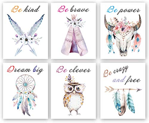 Set of 6 - Girls Boho Tribal Wall Art Print,Dream Feathers Flowers with Inspirational Quote Wall Poster Picture, Watercolor Positive Affirmation Words Bohemian Canvas Poster Decor - (Unframed, 8'X10')
