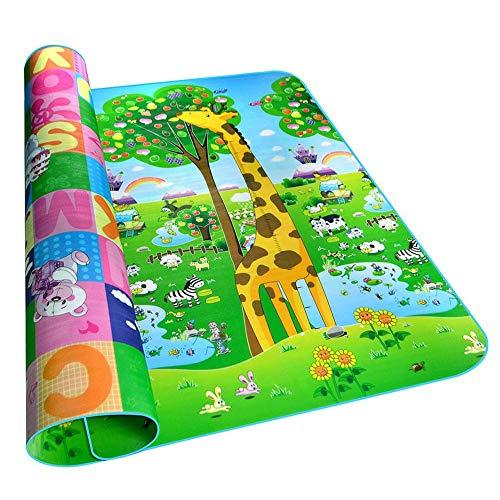 Starter Tapis de jeu pour bébé, tapis de jeu en mousse à double face, jouets éducatifs pour enfants 0.5CM-Epaisseur Tapis de sol pour tapis d'escalade pliable pour bébé (2 * 1.8/1.8 * 1.2M).