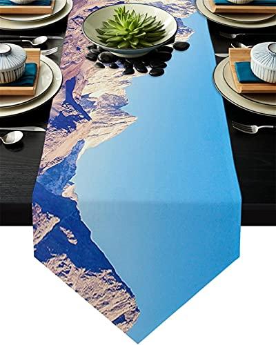 Chemin de table Alpes Snow Mountain Peaks Paysage Table Paysage Runner Table De Mariage Début Nappe Côte de Noël Décor de Noël pour la table à la maison Décoration (Couleur : K, Size : 36x183cm)