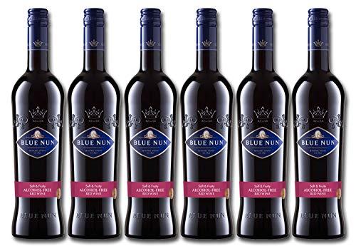Blue Nun – Alkoholfreier, lieblicher Rotwein aus Deutschland – 6 x 0.75 l