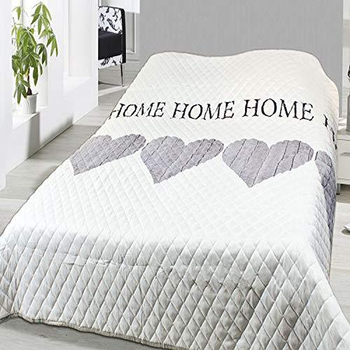 Mojawo Hochwertige Tagesdecke Bettüberwurf wattiert & gesteppt 140x210cm Sofaüberwurf 'Home'