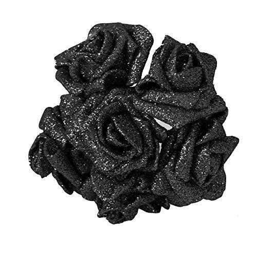 Full Glittered Foam Roses! Artificial Flowers Bling Glittery Shiny Fake Silk[Black]