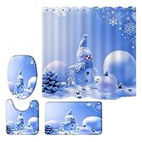 クリスマスシャワーカーテンセット、バスカーテン+トイレふたマット+バスマット+ラグ、絶妙な雪だるまクリスマスツリーの飾りソックスと他のパターン防水バスタブのカーテン Snowman-180
